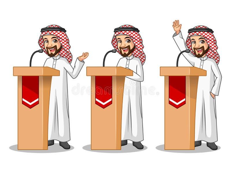 Uppsättning av affärsmannen Saudi Arab Man som ger ett anförande bak talarstol royaltyfri illustrationer