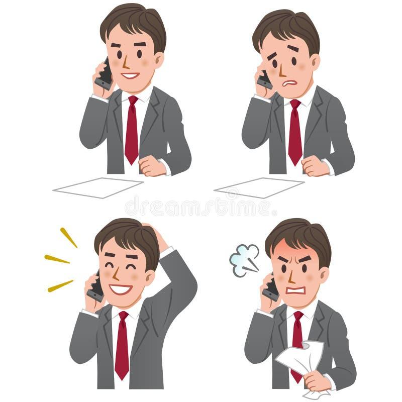 Uttryck av affärsmannen som talar på ringa vektor illustrationer