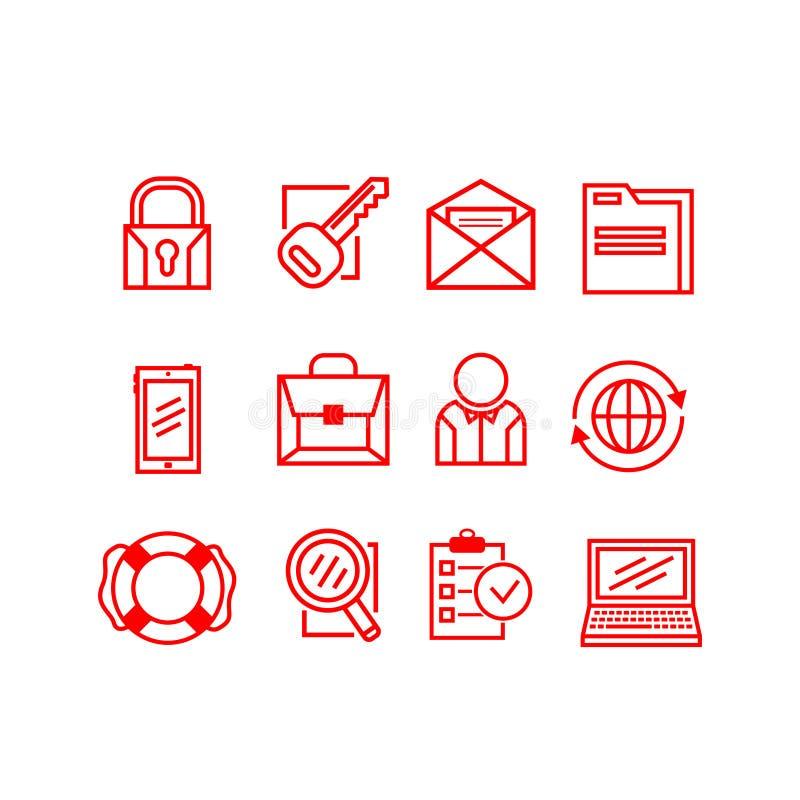 Uppsättning av affärssymboler på en vit bakgrund också vektor för coreldrawillustration royaltyfri illustrationer