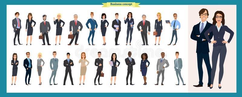 Uppsättning av affärstecken som i regeringsställning arbetar Isolerad vektordesign Internationellt affärslag royaltyfri illustrationer