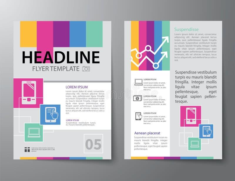 Uppsättning av affärstidskrifträkningen, reklamblad, tem för broschyrlägenhetdesign royaltyfri illustrationer