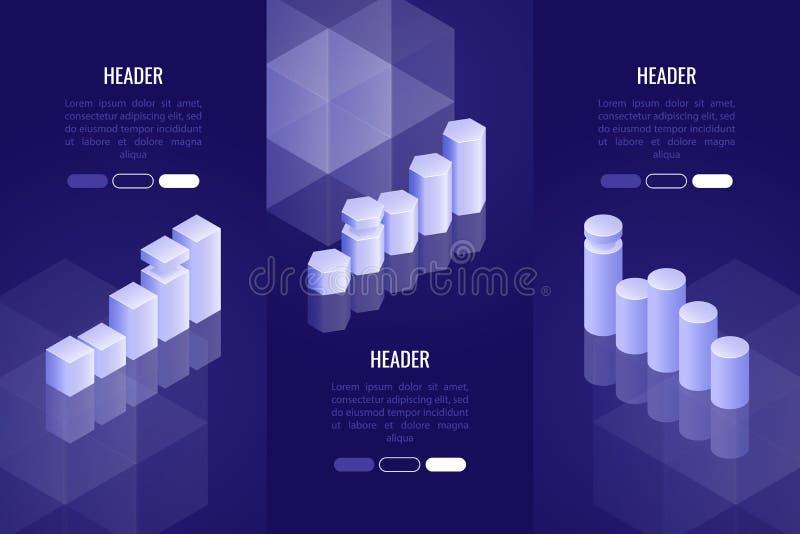 Uppsättning av 3 affärstitelrader med det olika diagrammet och grafen Datavisualizationbegrepp för analys, rapport, presentation stock illustrationer