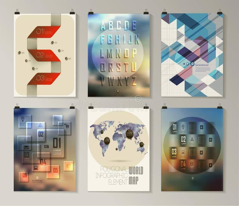 Uppsättning av affischen, reklamblad, broschyrdesignmallar stock illustrationer