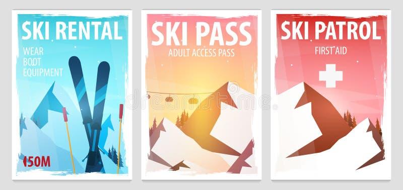 Uppsättning av affischer för vintersport Ski Rental patrull, passerande stora liggandebergberg Snowboarder i rörelse också vektor royaltyfri illustrationer