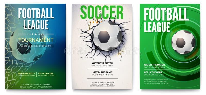 Uppsättning av affischer av fotbollturnering eller fotbollligan Diagramdesign med bollen Design av banret för sporthändelser royaltyfri illustrationer