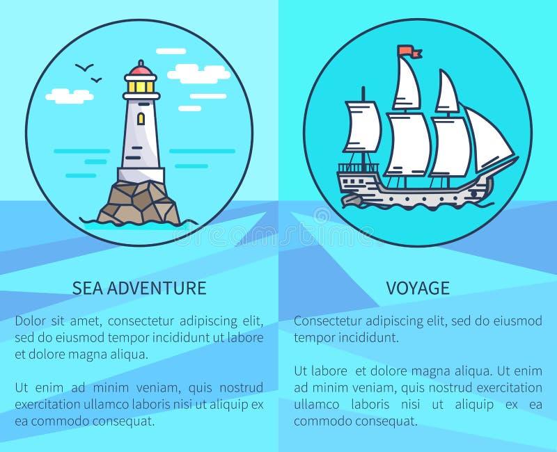 Uppsättning av affischer som visar fyren och skeppet vektor illustrationer