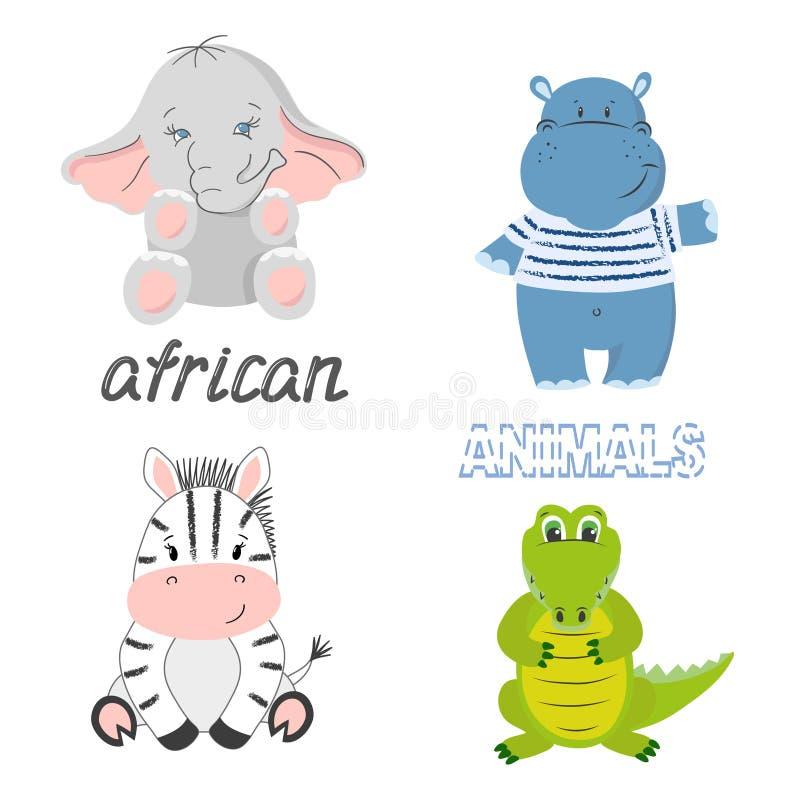 Uppsättning av afrikanska djur för gullig tecknad film som isoleras på vit - elefant, sebra, krokodil och flodhäst stock illustrationer