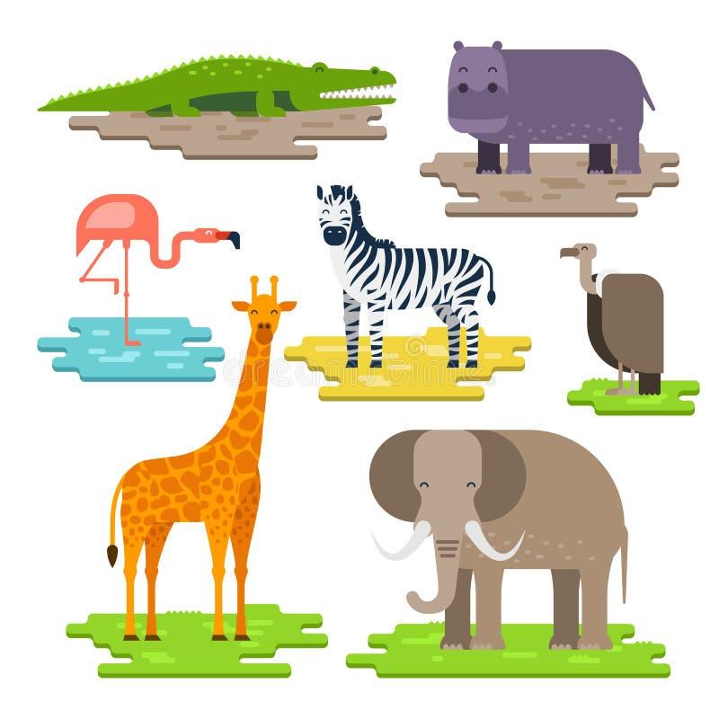 Uppsättning av afrikanska djur på styckena av designen för landvektorlägenhet Giraff elefant, Nilenkrokodil, flodhäst, sebra royaltyfri illustrationer