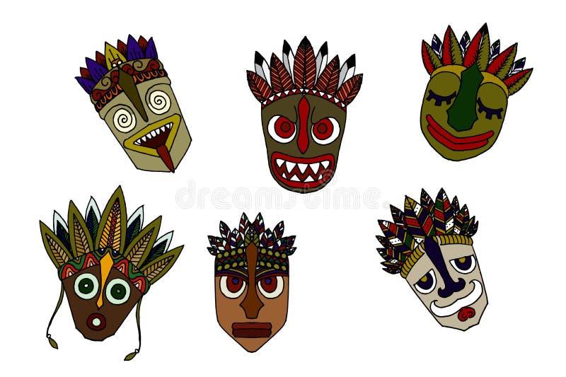 Uppsättning av afrikanska etniska stam- maskeringar på vit bakgrund royaltyfri illustrationer