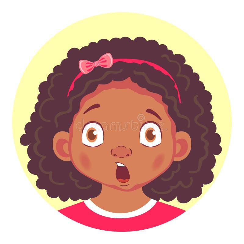 Uppsättning av afrikanska flickasinnesrörelser stock illustrationer
