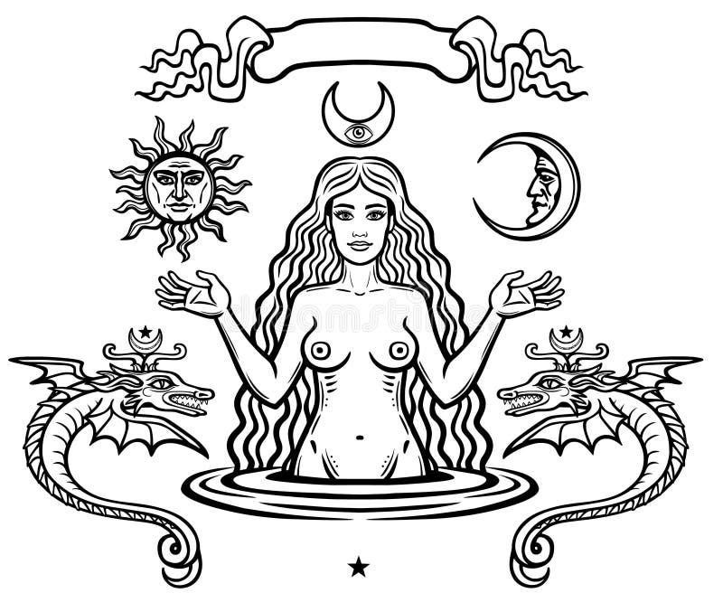 Uppsättning av alchemical symboler: den unga härliga kvinnan rymmer solen och månen i hand Bild för helgdagsafton` s, fertilitet, stock illustrationer