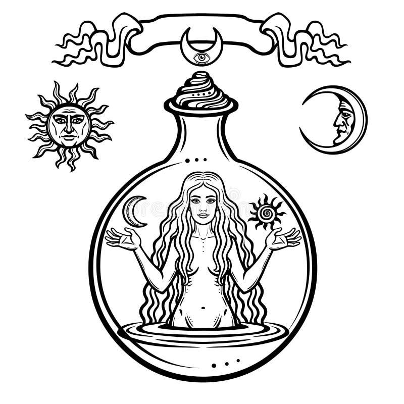Uppsättning av alchemical symboler: den unga härliga kvinnan rymmer solen och månen i hand Bild för helgdagsafton` s, fertilitet, royaltyfri illustrationer