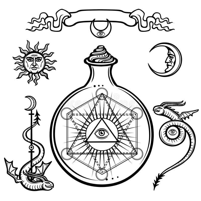 Uppsättning av alchemical symboler Ett försynöga i en flaska, kemisk reaktion sakral geometri stock illustrationer