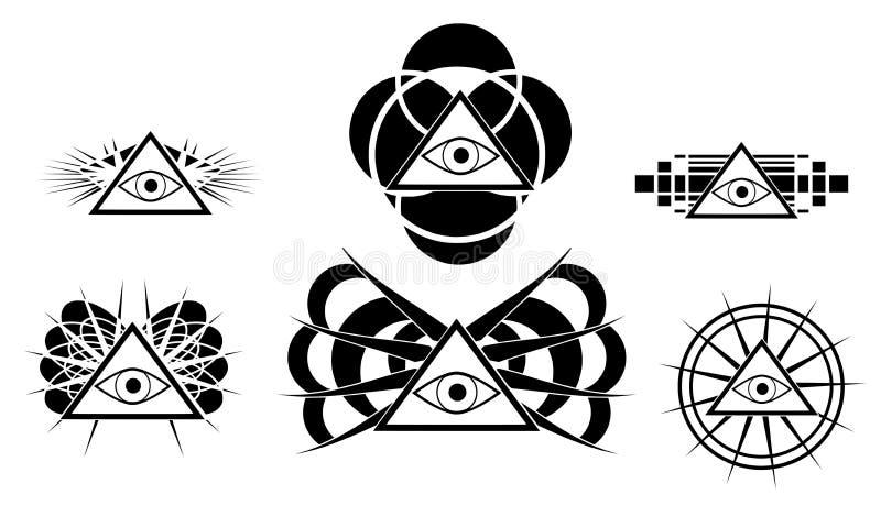 Uppsättning av All-seende det isolerade tatueringögat stock illustrationer