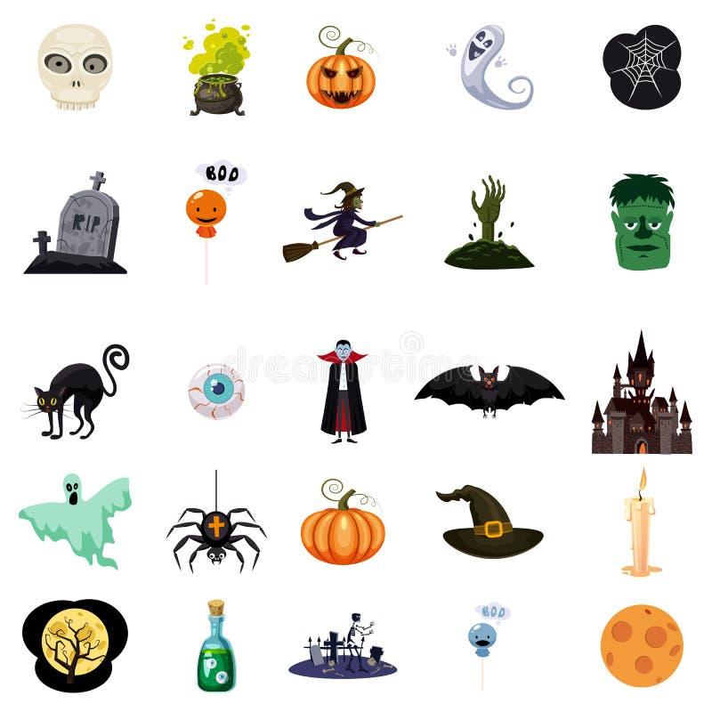 Uppsättning av allhelgonaafton släkta objekt och tecken Uppsättning av halloween symboler för din design Tecknad filmdesign hallo stock illustrationer