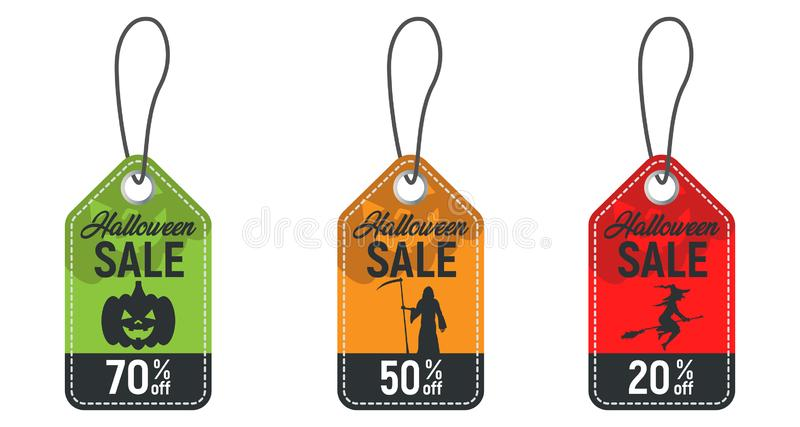 Uppsättning av allhelgonaaftonförsäljningsetiketten, halloween rabattbaner, halloween erbjudande, ferieprislappar också vektor fö royaltyfri illustrationer