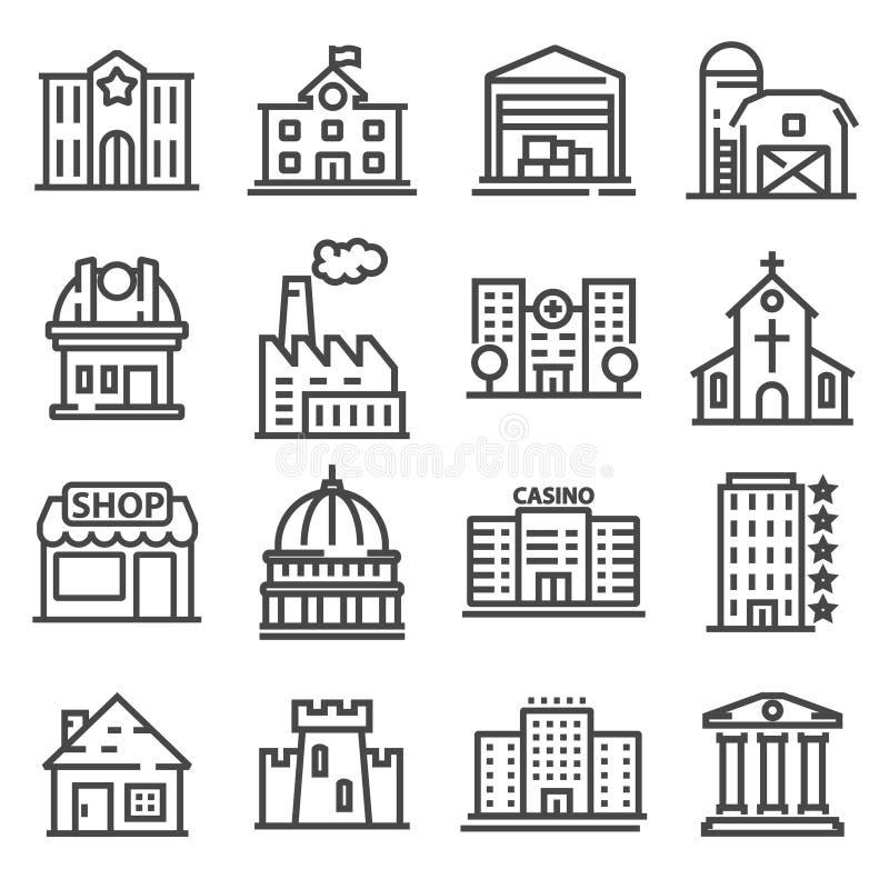 Uppsättning av allmänhet, regerings- andcommercial stadsbyggnader och institutioner royaltyfri illustrationer