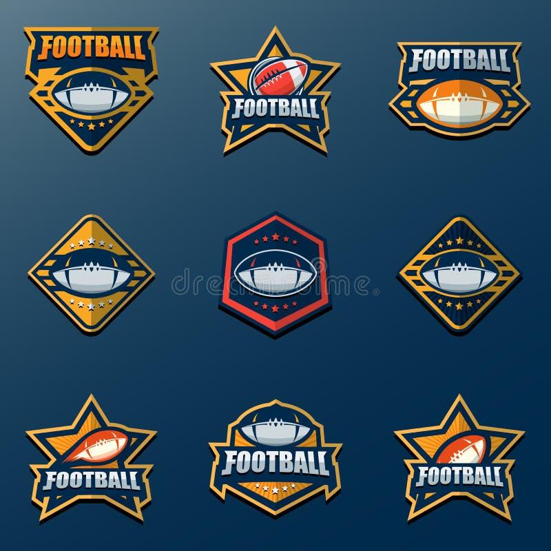 Uppsättning av amerikansk fotboll Logo Template Vektorhögskolalogoer dåligt stock illustrationer