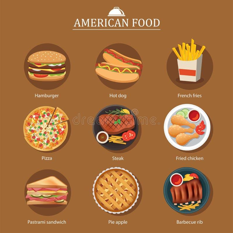 Uppsättning av amerikansk mat royaltyfri illustrationer