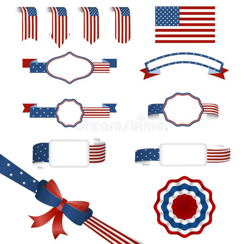 Uppsättning av amerikanska baner royaltyfri foto