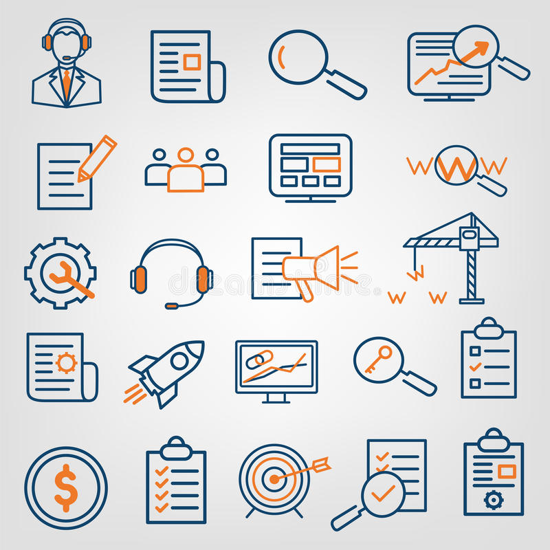 Uppsättning av analytics för optimization för SEO-sökandemotor, service för appellmitt, webbplatsutvecklingssymboler Plan linje d royaltyfri illustrationer
