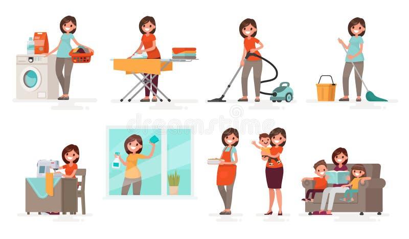 Uppsättning av angelägenhetkvinnahemmafrun Modern tvättar sig, järn, vakuum, c stock illustrationer
