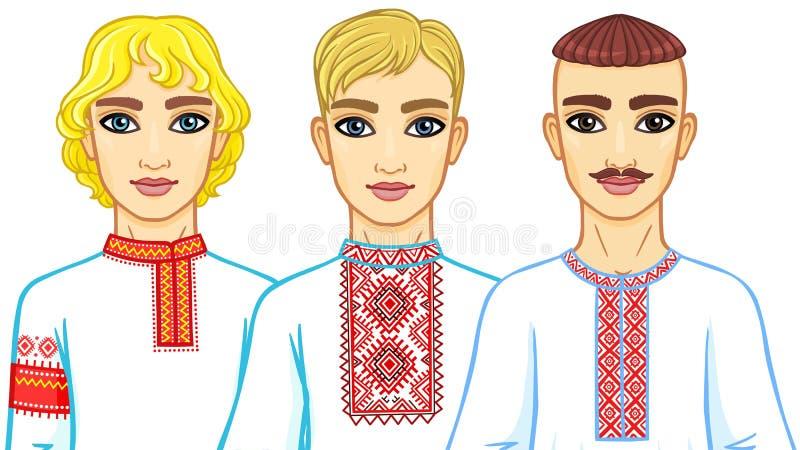 Uppsättning av animeringstående av slaviska män i traditionell kläder Vitryssland Ukraina, Ryssland stock illustrationer
