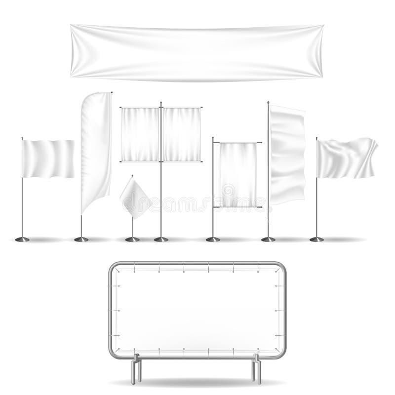 Uppsättning av annonseringaffischtavlor och utomhus- advertizing Flaggor som handlar brädet vektor illustrationer