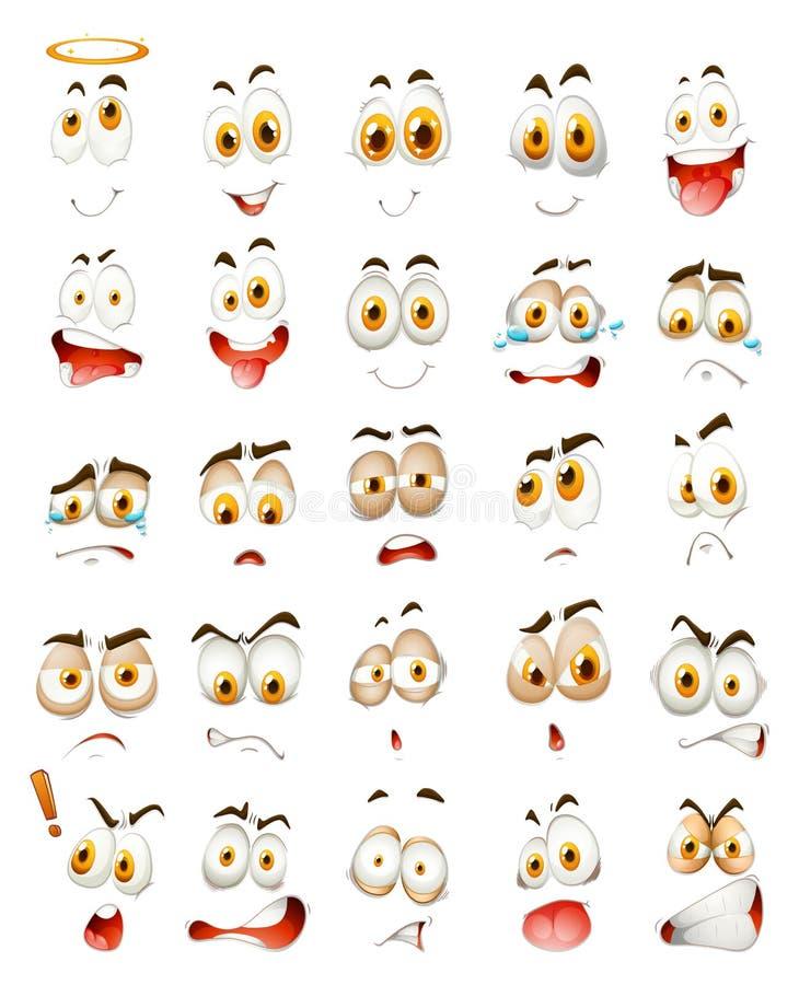Uppsättning av ansikts- sinnesrörelser royaltyfri illustrationer