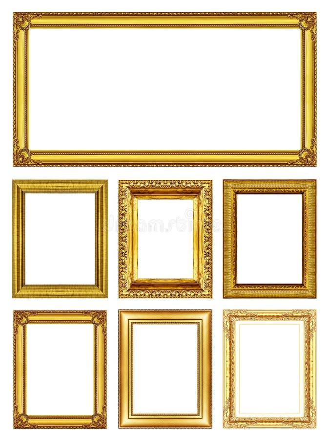 """Uppsättning 7 av antik guld inramar †""""som isoleras på vit royaltyfri bild"""