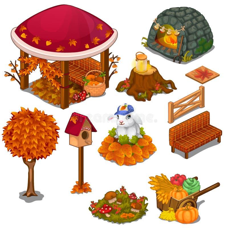 Uppsättning av användbara och dekorativa beståndsdelar för trädgård stock illustrationer