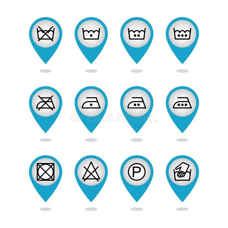 Uppsättning av anvisningstvätterisymboler, omsorgsymboler, tvättande symboler stock illustrationer