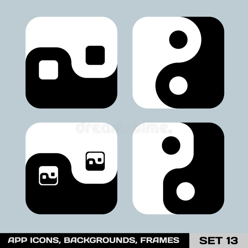 Uppsättning av App-symbolsbakgrunder, ramar, mallar. Uppsättning 13 stock illustrationer