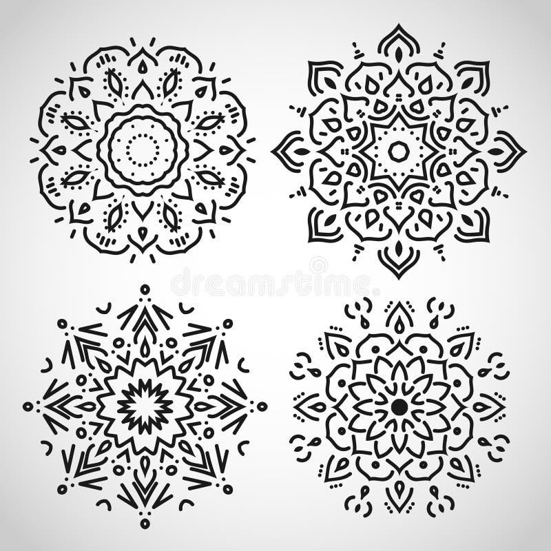 Uppsättning av arabiska cirkelprydnader, svart på vit, in stock illustrationer