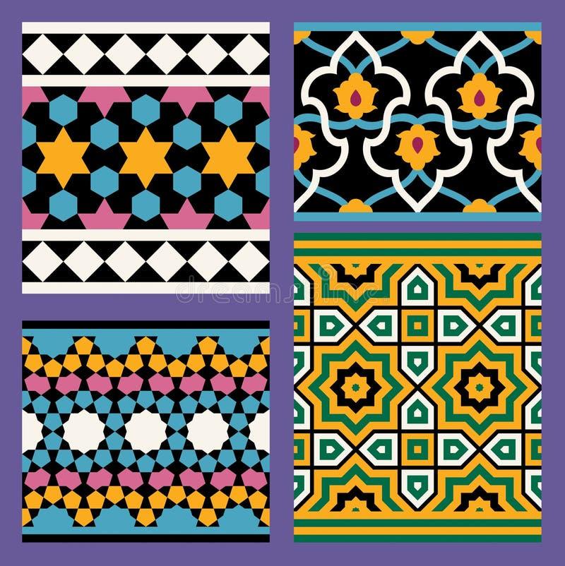 Uppsättning av arabiska sömlösa modeller vektor illustrationer