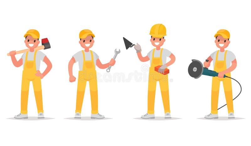 Uppsättning av arbetare med olika hjälpmedel för konstruktion och reparation royaltyfri illustrationer
