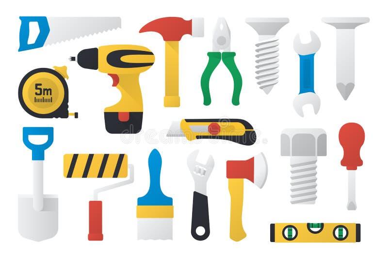 Uppsättning av arbetshjälpmedel i plan design vektor illustrationer