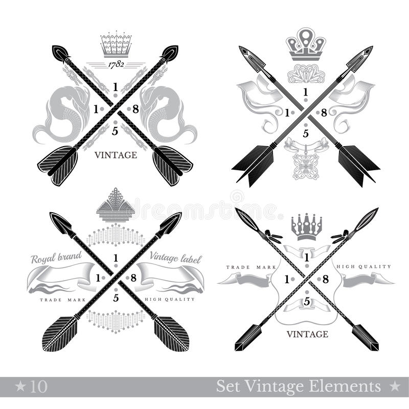 Uppsättning av arga pilar med abstrakta beståndsdelar Mallar för Hipstertappningstil för affär, etiketter, logoer vektor illustrationer