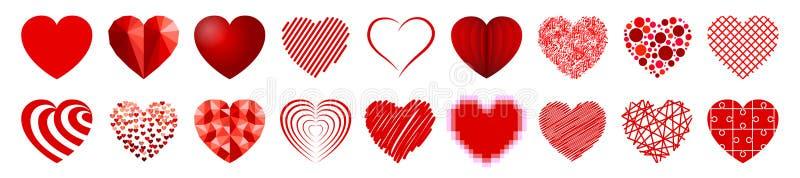 Uppsättning av arton hjärtor - vektor stock illustrationer