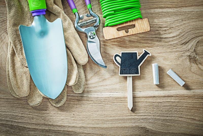 Uppsättning av att arbeta i trädgården cha för tråd för band för trädgård för spade för handskesekatörhand royaltyfri bild