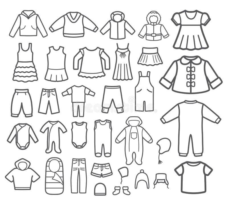Uppsättning av att bekläda för barn. stock illustrationer