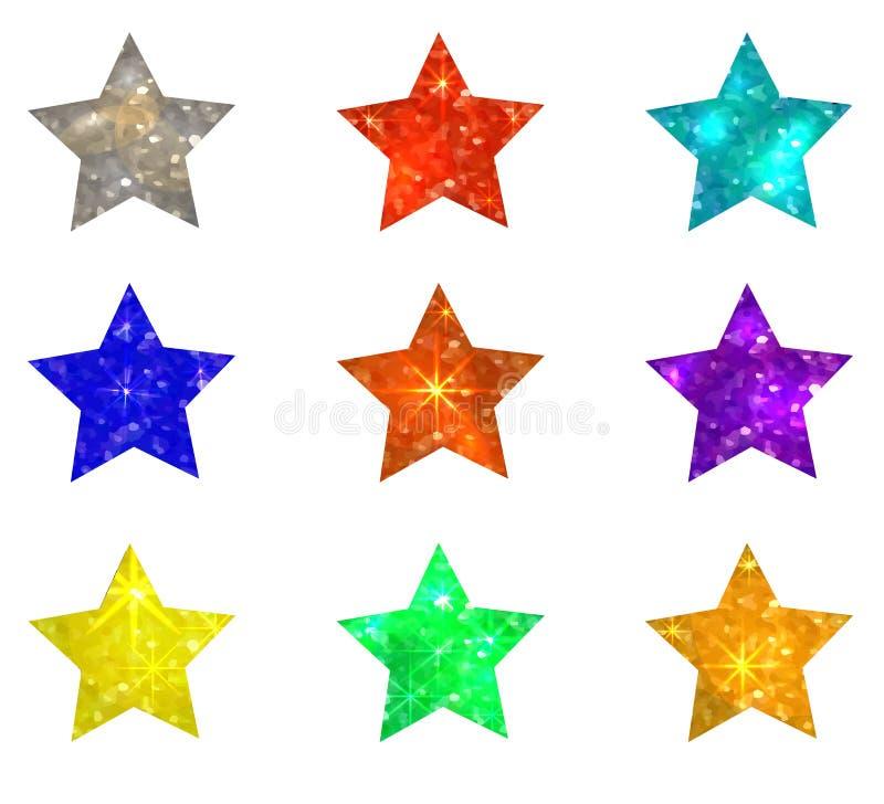Uppsättning av att blänka stjärnor på vit bakgrund också vektor för coreldrawillustration stock illustrationer