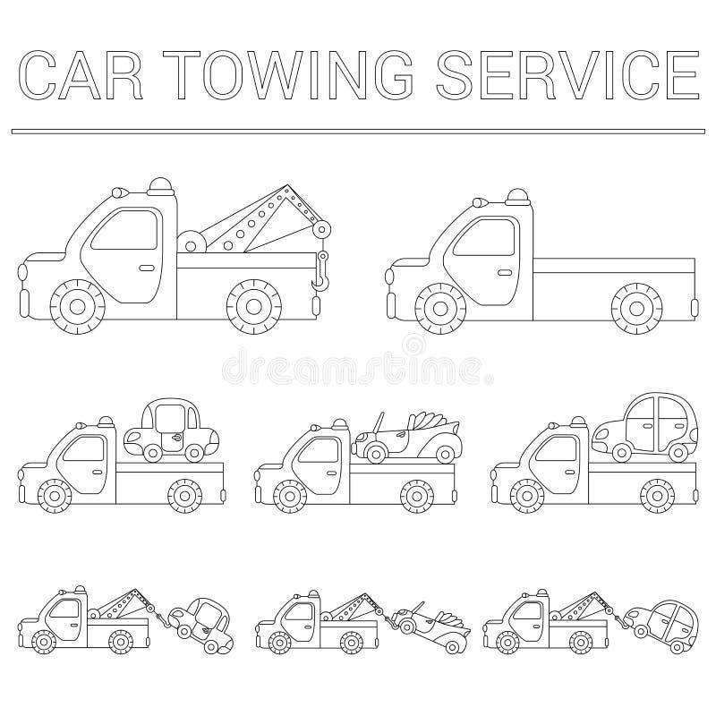 Uppsättning av att bogsera lastbilen för trans.nödlägebilar isolerad white för bakgrundscogwheel illustration stock illustrationer