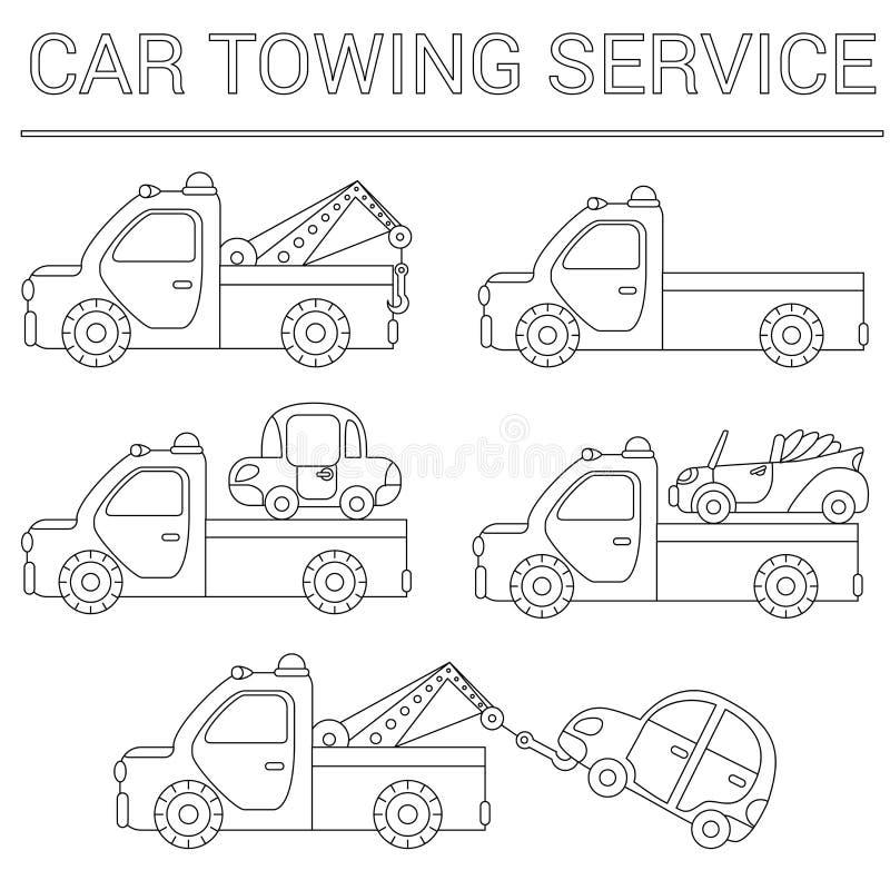 Uppsättning av att bogsera lastbilen för trans.nödlägebilar isolerad white för bakgrundscogwheel illustration royaltyfri illustrationer