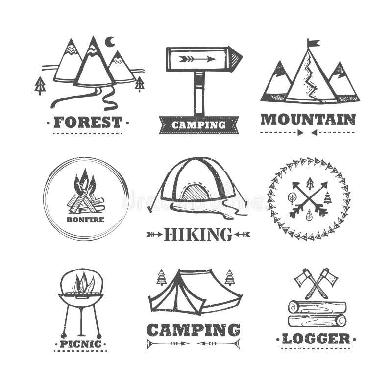 Uppsättning av att campa för logoer royaltyfri illustrationer