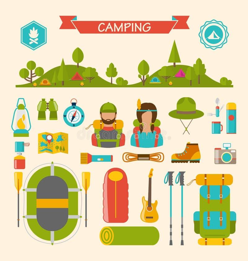 Uppsättning av att campa och att fotvandra utrustning royaltyfri illustrationer