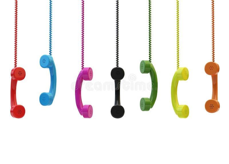 Uppsättning av att hänga retro telefoner royaltyfri bild