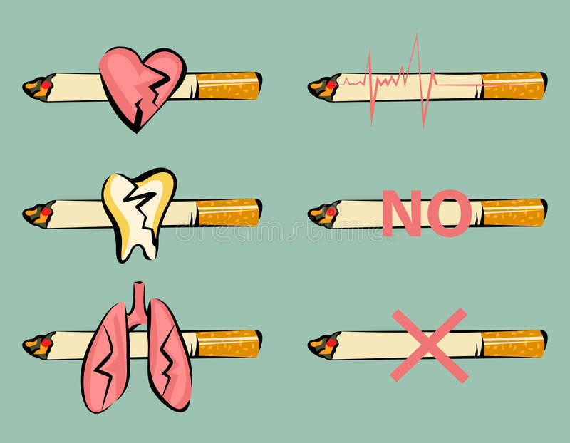 Uppsättning av att röka skadatecken Skadad hjärta, tand och lungor Cigarett och pulssymbol Retro tecknad filmstil klar vektor för vektor illustrationer