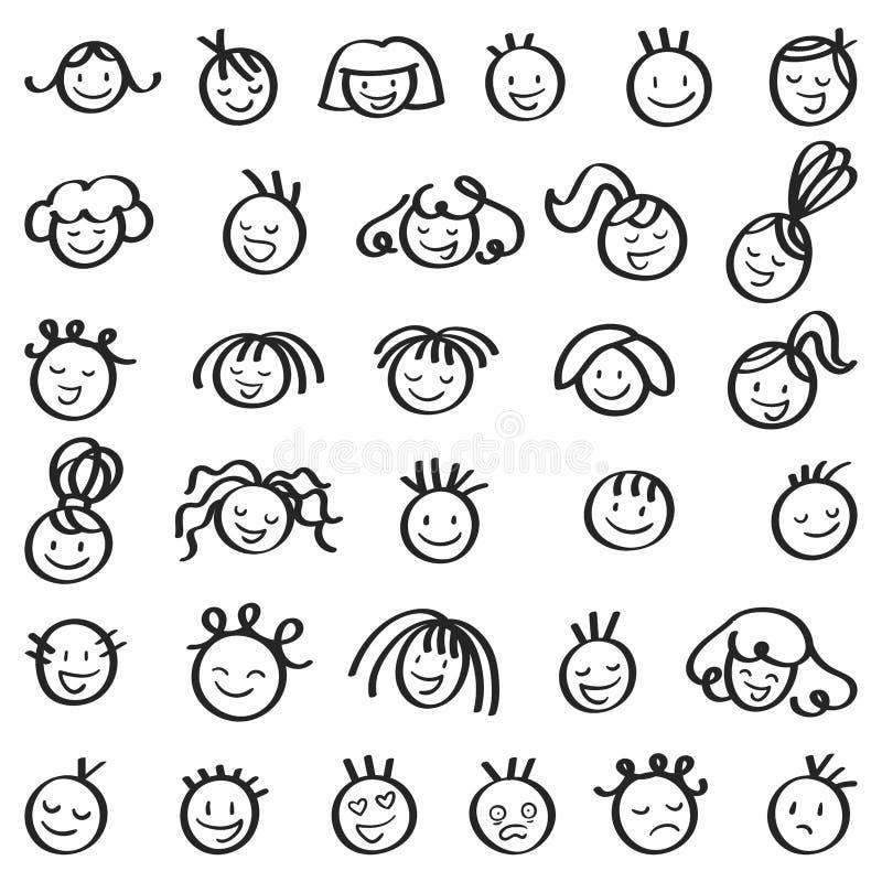 Uppsättning av att skratta och att le pinnediagramet huvud, män och kvinnor, olika frisyrer royaltyfri illustrationer