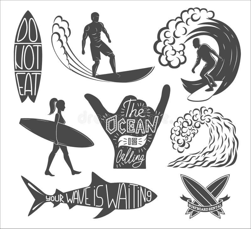 Uppsättning av att surfa tappningdesignbeståndsdelar Illustration för bränninglogovektor Surfingbrädalogotyper retro stil vektor illustrationer